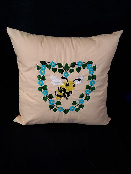 Bee & Flowers Pillow