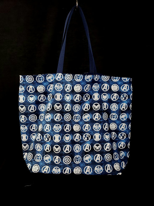 Reusable Gusseted Market Bag Made With Avengers Fabric