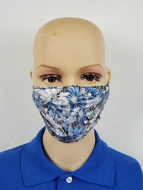 Blue and Silver Pointsettias Cloth Face Covering