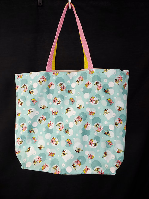 Reusable Gusseted Market Bag Made With Spongebob and Patrick Fabric