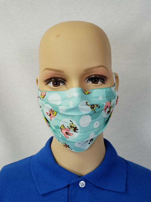 Cloth Face Covering made from Spongebob and Patrick fabric