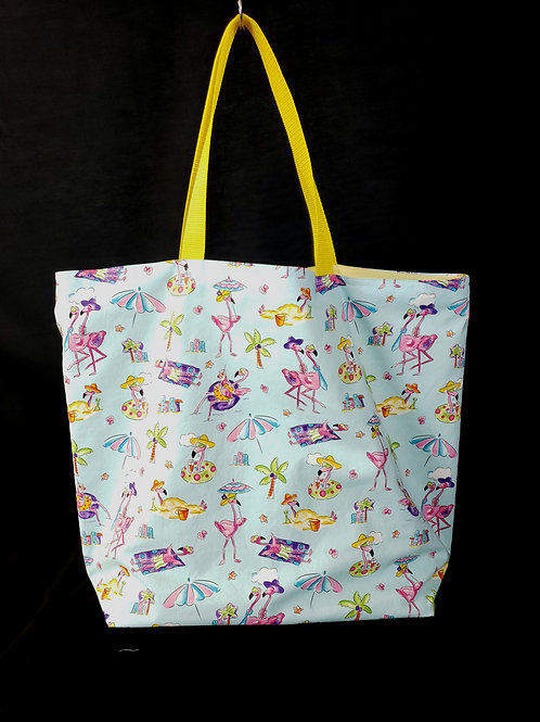 Swimming Flamingo's Reusable Gusseted Market Bag