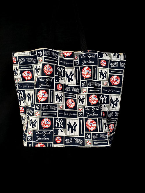 Reusable Gusseted Market Bag Made With New York Yankees Fabric