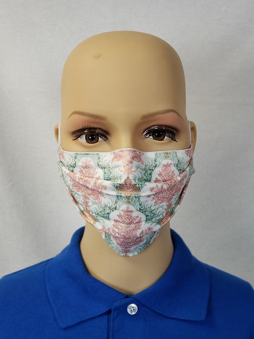 Shimmery Pink and Teal Paisley Cloth Face Covering