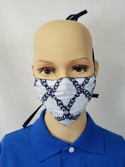 Navy Floral Hatching Cloth Face Covering