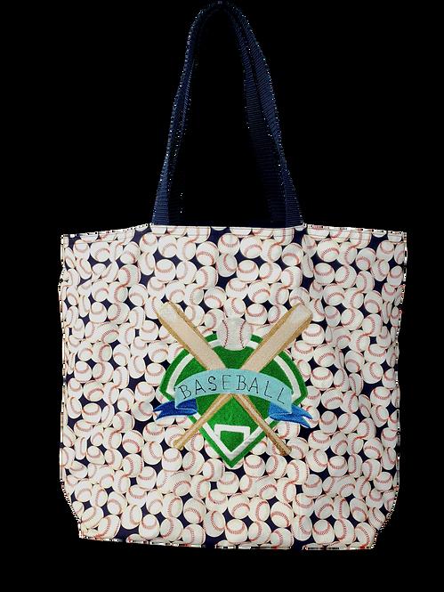 Embroidered Baseball Diamond Reusable Gusseted Market Bag