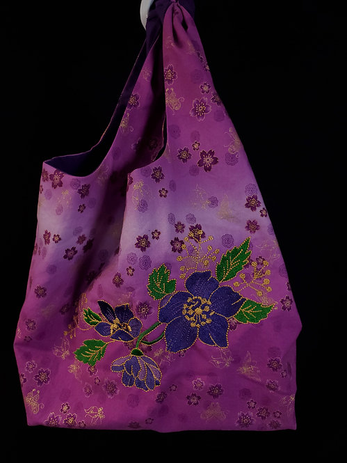Purple Flower Reusable Shopping Bag