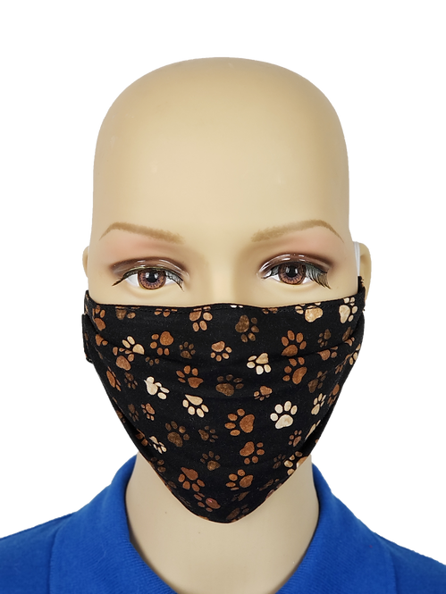 Black Pawprints Cloth Face Covering