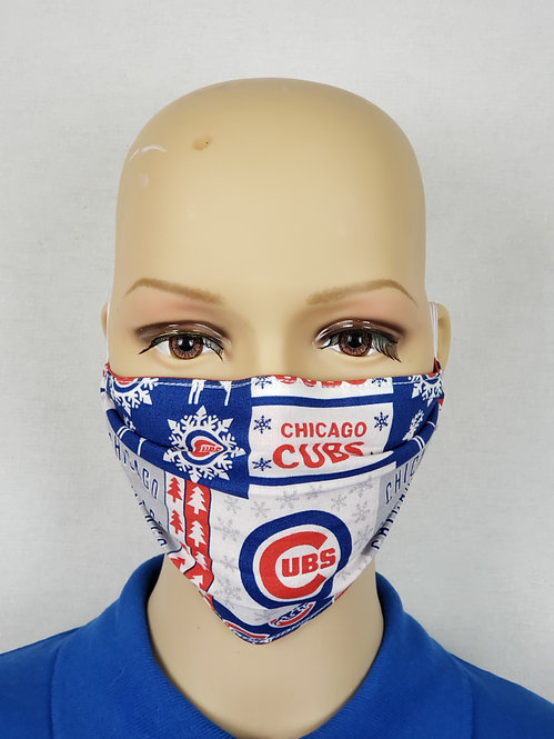 Cloth Face Covering made from Christmas Chicago Cubs