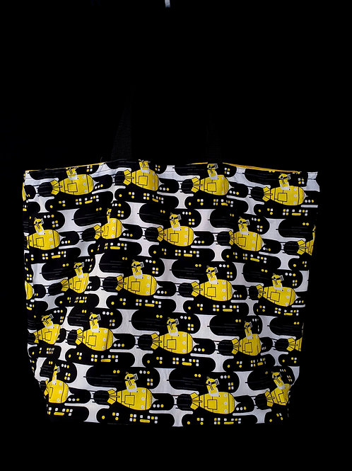 Reusable Gusseted Market Bag Made With Minion Bomb Fabric
