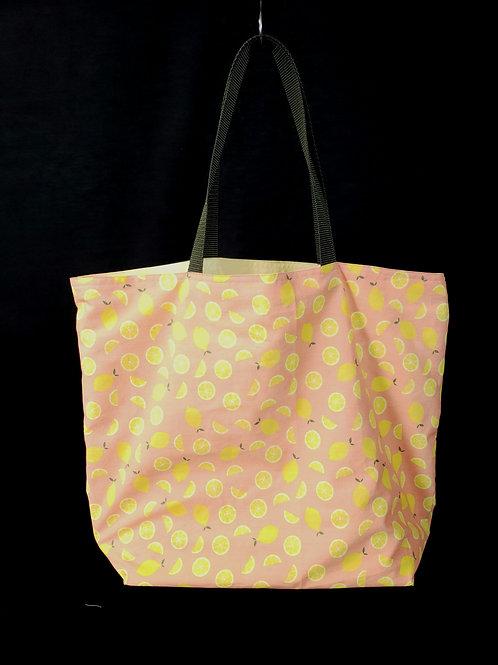 Coral Lemons Reusable Gusseted Market Bag