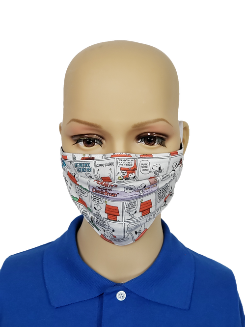 Cloth Face Covering made from Snoopy Comic Strip fabric