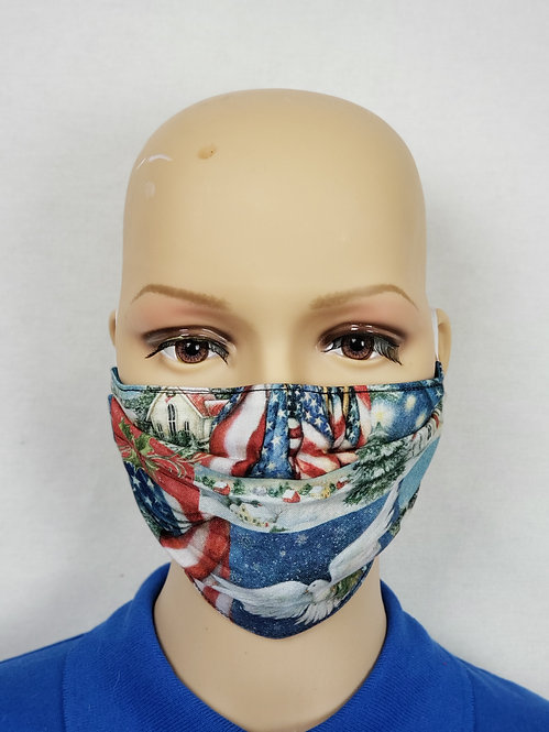 Patriotic Country Christmas Cloth Face Covering