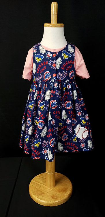 Girls Jumper made from Chicago Cubs Cooperstown fabric