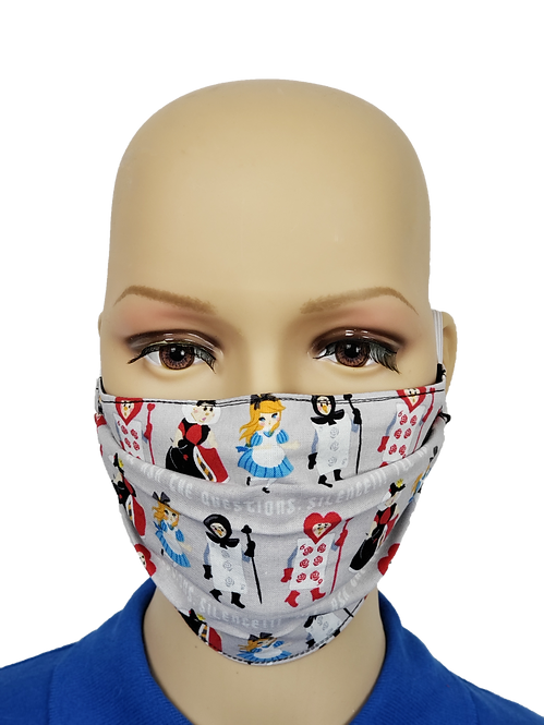 Cloth Face Covering from Alice in Wonderland fabric