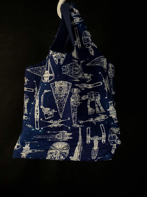 Reusable Shopping Bag Made from Star Wars Blueprint Fabric