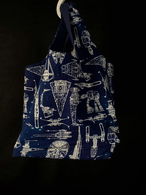 Reusable Shopping Bag Made from Star Wars Blueprint Fabric