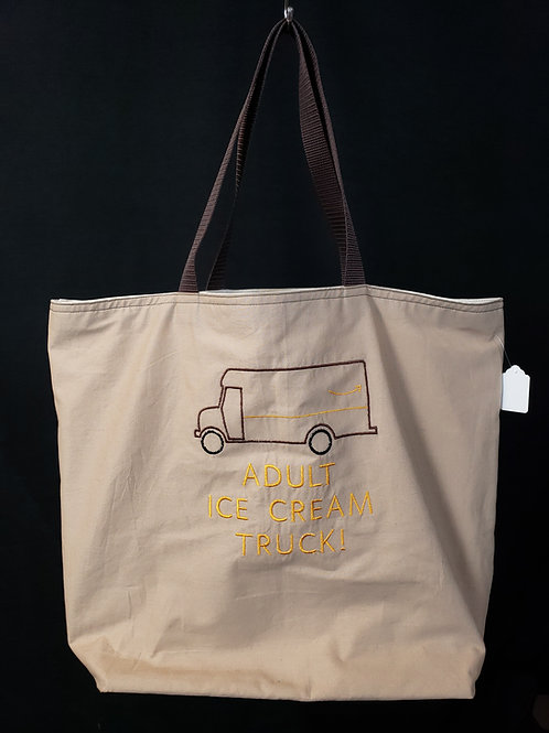 Adult Ice Cream Truck Reusable Gusseted Market Bag