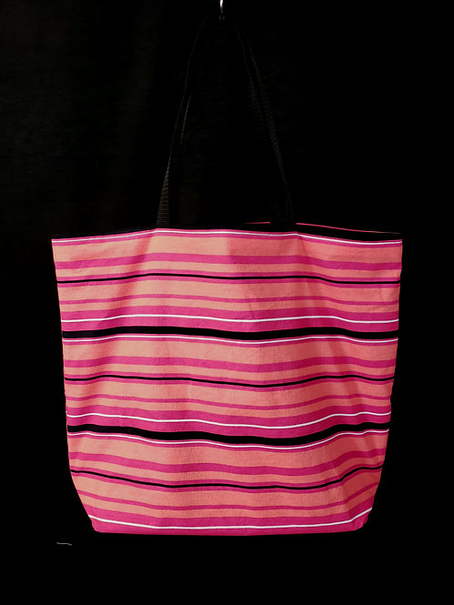 Pink Striped Reusable Gusseted Market Bag