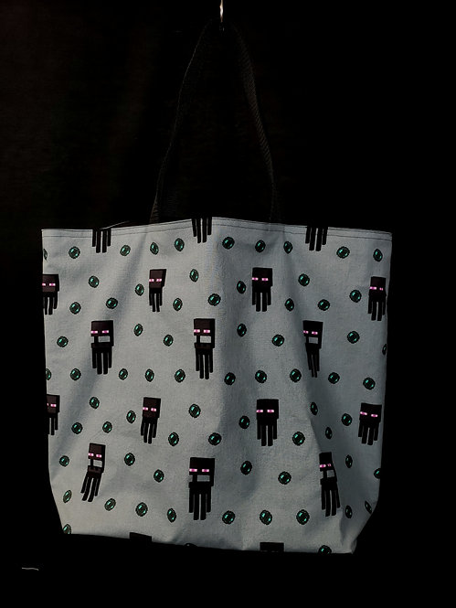 Reusable Gusseted Market Bag made with Enderman fabric