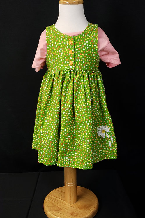 Green Floral Jumper with Daisy Embroidery