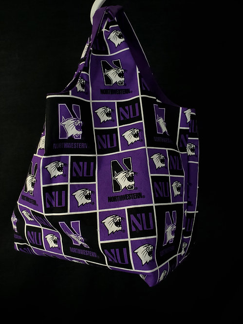 Reusable Shopping Bag Made With Northwestern University Fabric