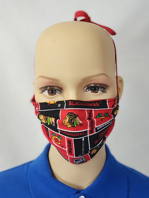 Cloth Face Covering made from Chicago Blackhawks fabric