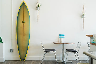 the surfboard at the Fairhaven JuiceBar
