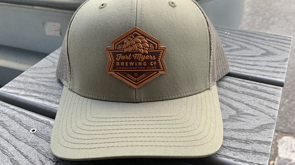 Leather Patch Army Green Hat