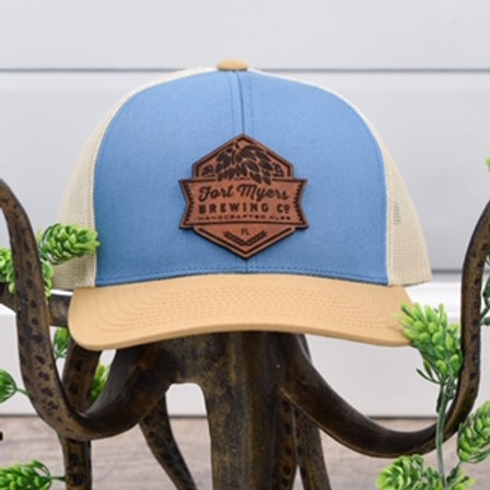 Leather Patch Hat - Ocean Blue/Amber Gold/Beige