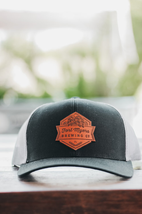 Leather Patch Hat - Black/Graphite