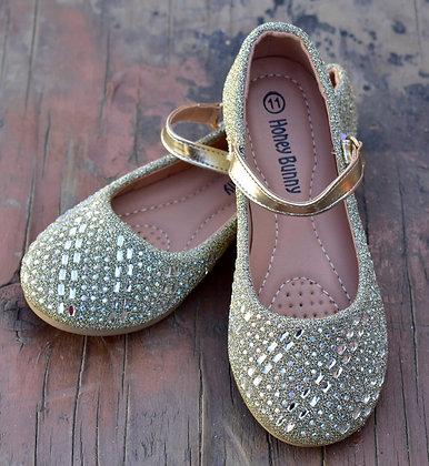 Zapatos Niña Dorados Con Pedrería