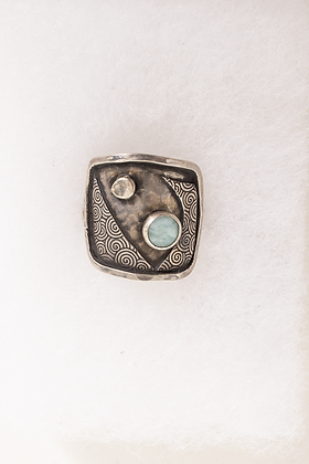DH 240 Aqua Geometric Stone Ring