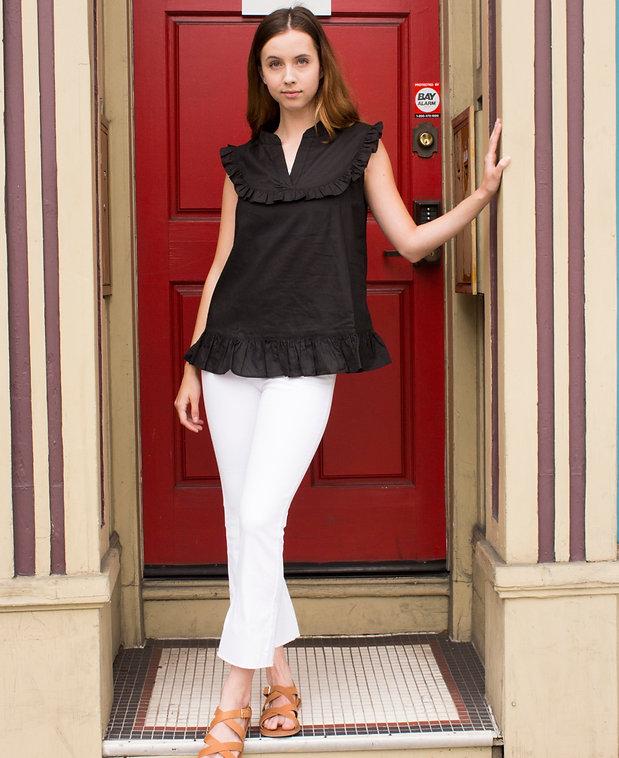 Black Sleevless Cotton Top