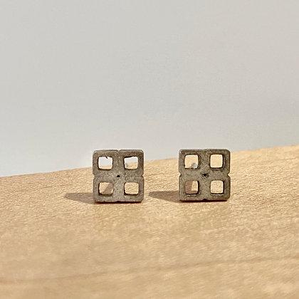 Waffle Silver Stud Earring
