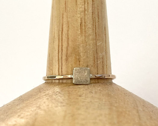 TW 78 Silver Square on Gold Ring