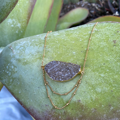 RJ 100 Long Druzy Crystal Necklace