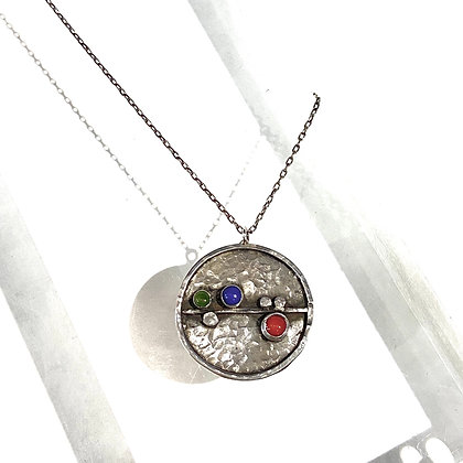 DH 244 Line and Gem Dot Pendant Necklace