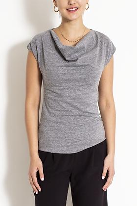 Lani Cowl Neck Top, Cotton Knit Top, Grey Top, Grey Knit Top