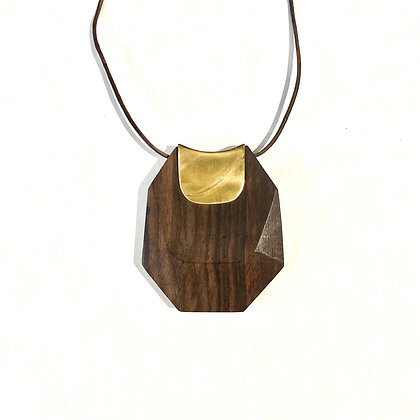 HO 04 Geo Wood Pendant Necklace