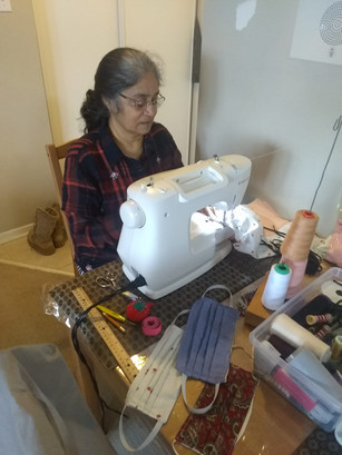 Volunteer Making Masks