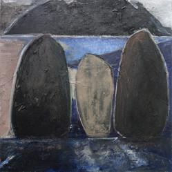 15. Les Menhirs (variation 2), un soir violet, 2017-2018
