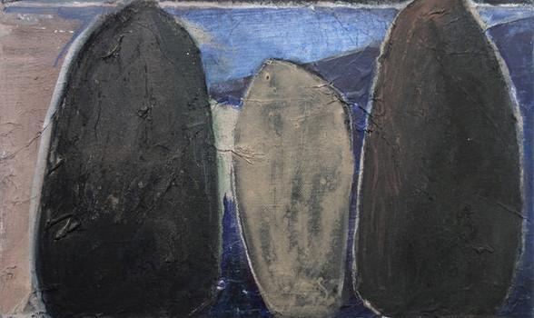 Les Menhirs (variation 2), un soir violet, 2017-2018