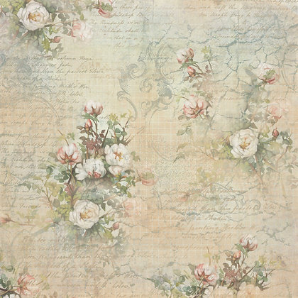 Script and Roses 180gsm 30 x 30cm single sided scrapbook paper
