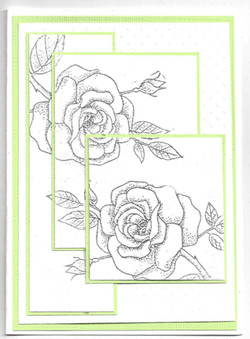 Green White with Silver rose