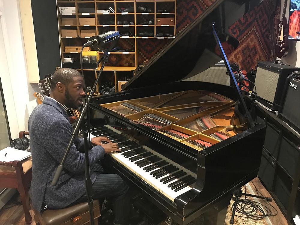 Gavin Holligan recording piano for Liam Cromby