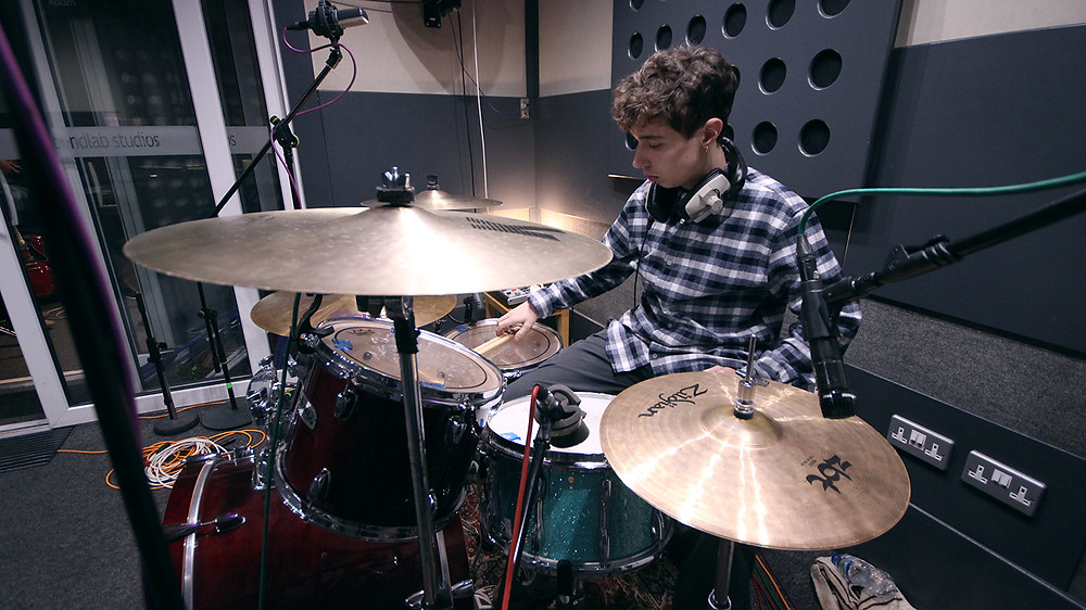 Dave Recording Drums for Lighthouse EP