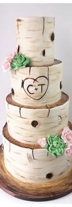 Wedding cake effet bois bouleau roses et succulentes