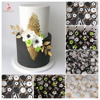 Wedding cake noir, blanc, or et touche de vert