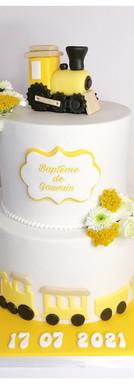 Cake design baptême Champêtre petit train blanc et jaune